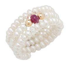 Freshwater Pearl & Gemstone Comfort Ring. #19.88. Reduce!   #fashion #bridesmaid #hollywood #pearls #ring #ruby #gild #sweet16  #brides