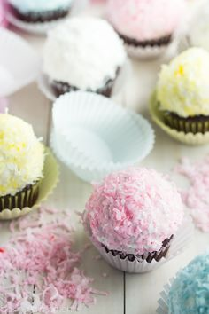 Coconut snowball cupcakes. The marshmallow frosting is perfection
