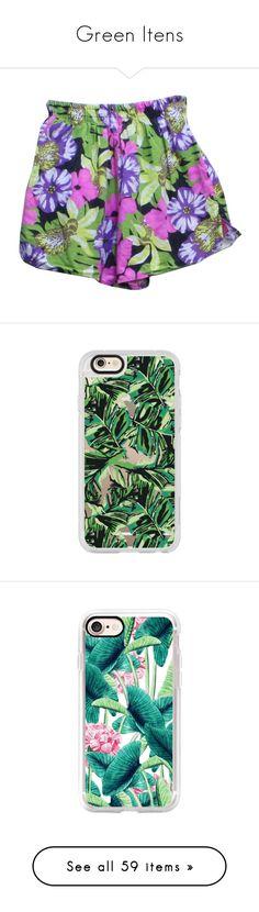 """Green Itens"" by aricnco ❤ liked on Polyvore featuring swimwear, bikinis, bikini bottoms, shorts, bottoms, clothes - shorts, pants, floral bikini, white swim trunks and swimsuits bikini"