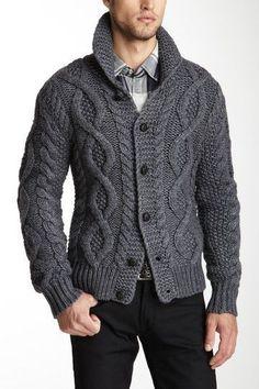 Men's Hand Knitted Cardigan XS,S,M,L,XL,XXL jacket Wool Hand Knit sweater 35 #Handmade #Cardigan