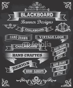 Vettoriale: Collection of banners and ribbons on a black background