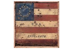 """USA 1776-1876"" Sign, Multi, by Brian Laurich Vintage Sign Co. 