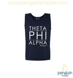 Theta Phi Alpha unisex navy modern lined tank top!! Start a chapter order today at Penguin Shoppe!! Custom@PenguinShoppe.com