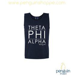 Theta Phi Alpha unisex navy modern lined tank top!! Start a chapter order today at Penguin Shoppe!! Custom@PenguinShoppe.com