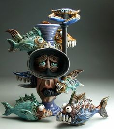 Forbidding aquatic ceramic creations