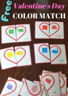 Here's a free and fun Valentine's Day color matching game for toddlers and preschoolers. It can help the to learn their colors and develop fine motor skills ans hand-eye coordination. Toddler Preschool, Toddler Activities, Activities For Kids, Toddler Games, Matching Games For Toddlers, Games For Kids, Valentines Games, Valentine Day Crafts, Printable Valentine