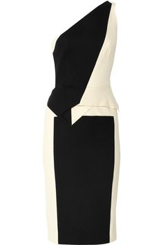 A festive, sexy cocktail dress, probably strapless and definitely glamorous. New Year's eve is a once-a-year über-showstopping look. Roland Mouret|Honey two-tone stretch-crepe dress|NET-A-PORTER.COM
