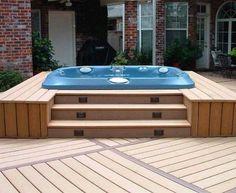 Hot Tub Deck Design Hot Tub Patio Ideas, Outdoor Hot Tubs With Decks Deck With Hot Tub - Lighting Furniture Design Spa Design, Design Patio, Backyard Designs, Backyard Ideas, Design Ideas, Patio Ideas, Landscaping Ideas, Porch Ideas, Design Art