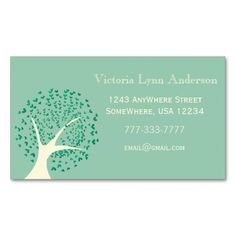 Mint Heart Tree Business Card. Make your own business card with this great design. All you need is to add your info to this template. Click the image to try it out!