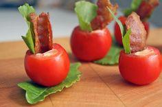 Salé - Des tomates cerises - des petites feuilles de salade - des lardons - une sauce, par exemple, un aïoli. D'autres idées sur le site.