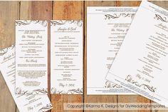 Wedding Program Template - Download Instantly - Elegant Swirls (Mocha) Tea Length - Microsoft Word Format