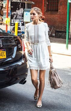 Olivia Palermo wearing a Jane Birkin-inspired outfit.