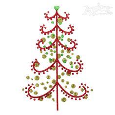 Reindeer Names Christmas Tree Embroidery Design