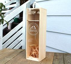 New Wine Wooden Box with rope handle, natural wood box
