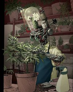 The High Art 2019 Top 5 Finalists have been unveiled! Find out more about the Natural Cannabis Company's annual art contest and discover more art that you love. Character Concept, Character Art, Arte Robot, Arte Cyberpunk, Robot Concept Art, Plant Art, Alphonse Mucha, High Art, Sci Fi Art