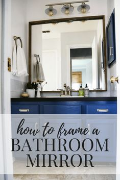 How to quickly and easily frame a bathroom mirror, to take your bathroom from builder-grade to completely custom! Large Bathroom Mirrors, Large Bathrooms, Diy Mirror, My Builder, Builder Grade, Guest Bathrooms, Bathroom Ideas, Custom Mirrors, Home Renovation