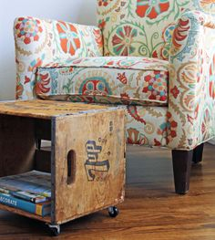 Turn A Crate Into A Footstool & Magazine Rack