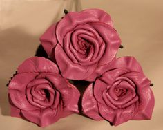 Lavender Leather Rose Bouquet 3 roses 3rd by LeatherNstuff on Etsy