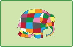 An sheet featuring our interpretation of Elmer from the Elmer the Elephant series, suitable for using as playdough mats with young children. Rhyming Activities, Craft Activities, Teaching Colors, Primary Teaching, Elmer The Elephants, Forest School Activities, Elephant Poster, Reading Posters, Key Stage 1