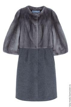 Оригинальное пальто из меха норки и ткани - купить или заказать в интернет-магазине на Ярмарке Мастеров   Стоимость указана за пошив, без учета стоимости…