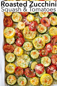 Recipes Zucchini Flavour packed roasted zucchini, squash and tomatoes made with garlic, parmesan cheese and herbs. These sheet pan veggies are incredibly simple yet full of delicious flavor and make a great healthy, easy summer side dish to any meal. Summer Side Dishes, Veggie Side Dishes, Healthy Side Dishes, Side Dish Recipes, Food Dishes, Simple Side Dishes, Garden Vegetable Recipes, Zucchini Side Dishes, Easy Vegetable Side Dishes