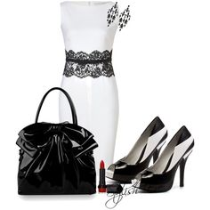 """Black and White Dress Outfit !"" by stylisheve on Polyvore"