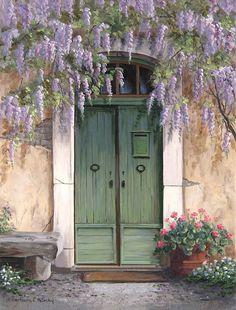 """""""Wisteria Over The Door """" Entrance Doors, Doorway, Pintura Colonial, Cool Doors, Jolie Photo, Wisteria, Online Gallery, Beautiful Paintings, Windows And Doors"""