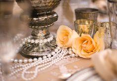 Plan-a-Wedding-on-a-Budget: Great Gatsby Theme 1920 Great Gatsby, Great Gatsby Theme, Great Gatsby Wedding, 20s Wedding, Dream Wedding, Pearl Centerpiece, Candle Centerpieces, Centerpiece Ideas, Vintage Wedding Centerpieces