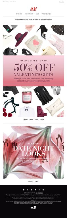 H&M - Prep for Valentine's Day! Up to 50% off gifts
