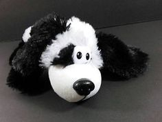 """11"""" Black White ROLLOVER ROVER Puppy Dog Laughing Rolling Plush Toy B222"""