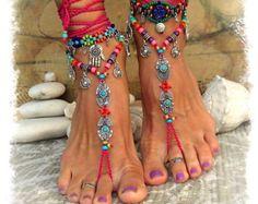 Hot Pink BIKINI BAREFOOT sandals Tribal Ibiza summer Toe Anklets crochet Sandal Beach Garden Wedding Colorful Cowgirl Foot jewelry GPyoga