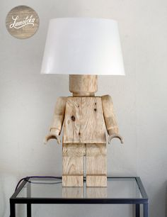 Scandinavian Wooden Lego Table Lamp