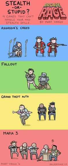 """Stealth games in a nutshell [   """"4 Game AI's That Just Can't Handle Stealth"""",   """"Posts about gaming written by Crash Gordon"""",   """"Loading..."""" ] # # #Awesome #Gaming, # #Funny #Gaming, # #Gaming #Humor, # #Videogame #Art, # #Videogame #Stuff, # #Gamer #Stuff, # #Approprite #Memes, # #Memes #Gamer, # #Cod #Memes"""