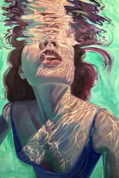 Kunst Isabel Emrich paints dazzling depictions of women submerged underwater. Art Inspo, Pop Art, Underwater Painting, Breathing Underwater, Painting Art, Heart Painting, Painting Of Girl, Underwater Photos, Oil Paintings