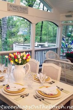 Porch Entertaining Ideas Decorating Blogs, Porch Decorating, Diy Curtains, Outdoor Curtains, Christmas Table Settings, House With Porch, Pool Houses, Outdoor Entertaining, Place Settings
