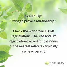 "Here's a tip which may help you prove a relationship.""During World War I there were three registrations. The first, on June 5, 1917, was for all men between the ages of 21 and 31. The second, on June 5, 1918, registered those who attained age 21 after June 5, 1917. The third registration was held on September 12, 1918, for men age 18 through 45."" via NARA #Ancestry #Archives #NARA #draft #military #veterans #WWI"