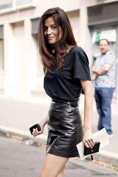 A black leather mini ..Streetstyle.