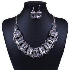 Silver Plated Diamond Necklace Earrings Women Jewelry Set