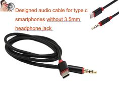Type C Audio Aux Cable 3.5mm Male to USB C Male Gold Plated Stereo 4 Pole Black #TypeCAudio