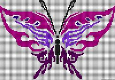 A48701 - friendship-bracelets.net Cross Stitch Skull, Butterfly Cross Stitch, Crochet Butterfly, Beaded Cross Stitch, Butterfly Pattern, Cross Stitch Charts, Cross Stitch Embroidery, Pony Bead Patterns, Modern Cross Stitch Patterns