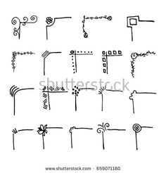 Vintage text dividers. Doodle decorated text drawn by hand. Vector illustration
