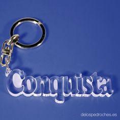 Llavero de metacrilato con el nombre de Conquista #ValleDeLosPedroches    http://delospedroches.es/es/metacrilato/151-llavero-metacrilato-conquista-laser-ll76.html