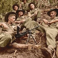 Australian soldiers from the Infantry Battalion, Division on the Kokoda Trail, New Guinea. Anzac Soldiers, Australian Defence Force, Anzac Day, British Army, Vietnam War, Military History, World War Ii, Wwii, Division