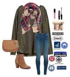 """""""#Setlikesbattle220"""" by a-devo ❤ liked on Polyvore featuring H&M, Look by M, J Brand, ALDO, Marc Jacobs, NYX, Clarins, Forever 21, Chaco and Sperry"""