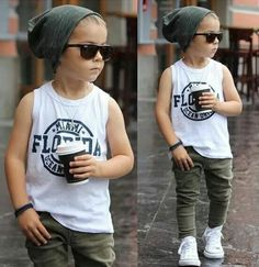 Toddler fashion summer fashion fall outfit summer outfit fashion inspo mixed babies olive jeans white sneakers white too grey beanie #KidsFashion