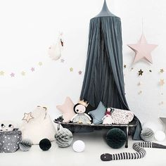 For the Kids- canopy- star lantern- star cushions- camp bed- Source: @molly_meg -