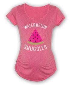 Heather Raspberry 'Watermelon Smuggler' Maternity Scoop Neck Tee #zulily #zulilyfinds