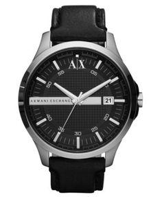 A|X Armani Exchange Watch, Men's Black Leather Strap 46mm AX2101