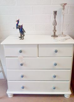 New Into The White Approach Gorgeous Hand Painted White Chest Of Drawers With Enamel Knobs