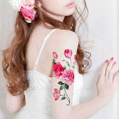 1pc Peony Flower big  temporary tattoo   fake by MaomaoCreation